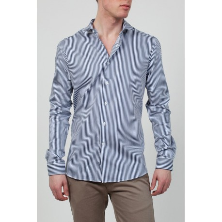 Chemise homme - Rayee bleu marine blanc-Chagos