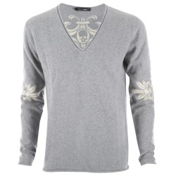 Trust couture paris Pulls - Pur Cachemire Intarsia Grey V-Neck - Homme