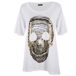 Lauren moshi T-shirts - Crâne Col Rond Blanc - Femme
