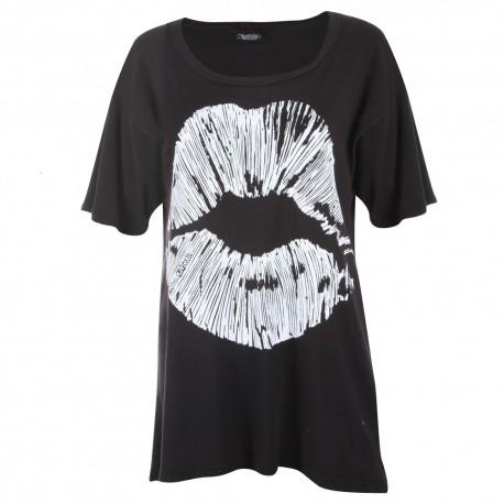 Lauren moshi T-shirts - Lip Col Rond Noir - Femme