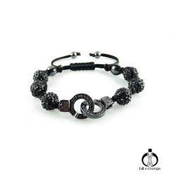 Bracelet shamballa i.d x-change SCB-01-BCZ menotte noir serti