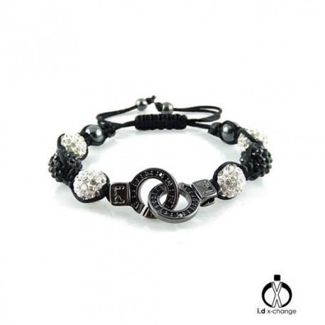 Bracelet shamballa i.d x-change SCBW-01-BCZ menotte noir serti