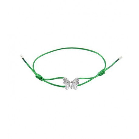Bracelet i.d x-change papillon argent serti P01-A-2 CZ cordon