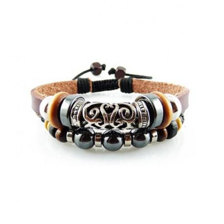 "Bracelet tibétain cuir TIB07 i.d x-change "" Tibéria """