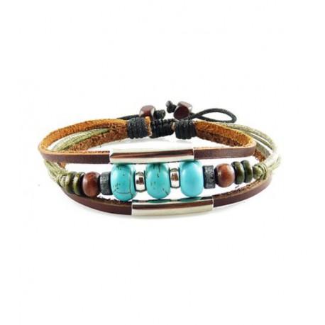 "Bracelet tibétain cuir TIB11 i.d x-change "" Tibéria """