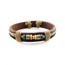 "Bracelet tibétain cuir TIB13 i.d x-change "" Tibéria """