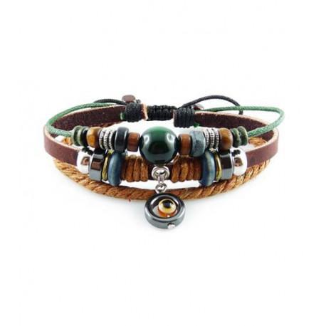 "Bracelet tibétain cuir TIB20 i.d x-change "" Tibéria """