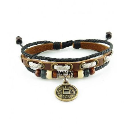 "Bracelet tibétain cuir TIB23 i.d x-change "" Tibéria """