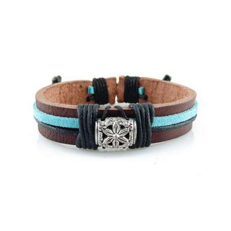 "Bracelet tibétain cuir TIB36 i.d x-change "" Tibéria """