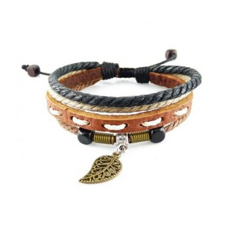 "Bracelet tibétain cuir TIB38 i.d x-change "" Tibéria """