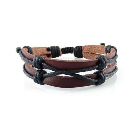 "Bracelet tibétain cuir TIB44 i.d x-change "" Tibéria """