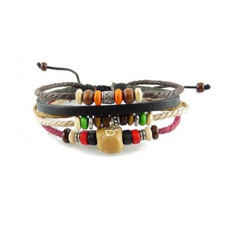 "Bracelet tibétain cuir TIB45 i.d x-change "" Tibéria """