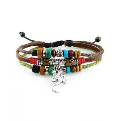"Bracelet tibétain cuir TIB49 i.d x-change "" Tibéria """