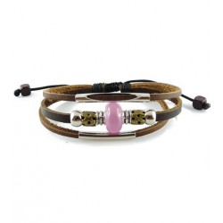 "Bracelet tibétain cuir TIB52 i.d x-change "" Tibéria """