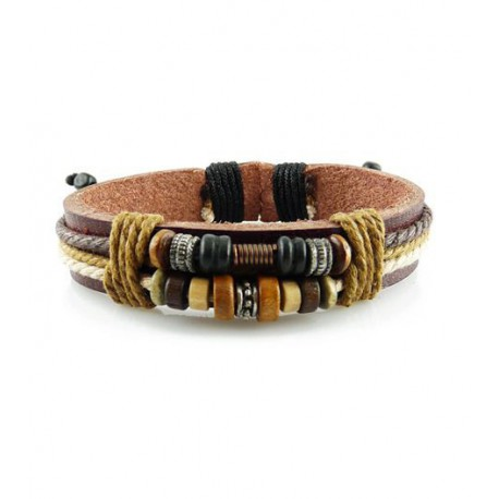 "Bracelet tibétain cuir TIB55 i.d x-change "" Tibéria """