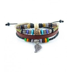 "Bracelet tibétain cuir TIB56 i.d x-change "" Tibéria """