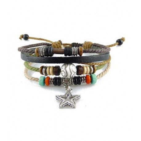 "Bracelet tibétain cuir TIB57 i.d x-change "" Tibéria """
