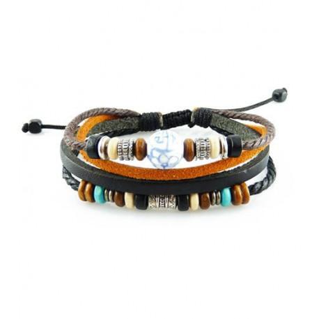 "Bracelet tibétain cuir TIB59 i.d x-change "" Tibéria """