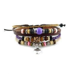 "Bracelet tibétain cuir TIB62 i.d x-change "" Tibéria """
