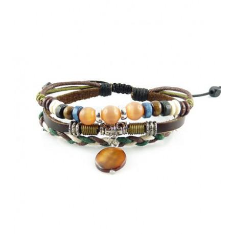 "Bracelet tibétain cuir TIB69 i.d x-change "" Tibéria """
