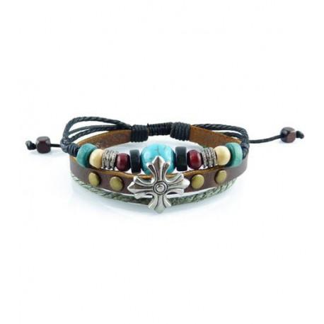 "Bracelet tibétain cuir TIB71 i.d x-change "" Tibéria """