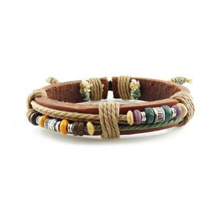 "Bracelet tibétain cuir TIB74 i.d x-change "" Tibéria """