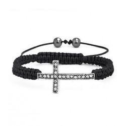 Bracelet croix rhodium SBB129 cordon macramé noir